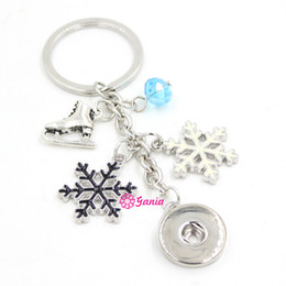 Wholesale Ice Skates For Women - New Arrival DIY Interchangeable Jewelry Snap Key Chain Bag Charm Winter Snowflake Ice Skate Key Ring Bag Charm for Handbags