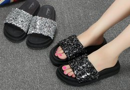 Wholesale Wholesale Flip Flops Buckle - Summer new one-word non-slip thick sequins slippers female fashion wear high-heeled wild beach cool