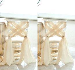 pajarita cubierta de strass Rebajas Boda de playa simple 2016 Nueva silla de gasa Sash Elegante por encargo Venta de fábrica Cubiertas de la silla para la boda romántica Criss Cross barato
