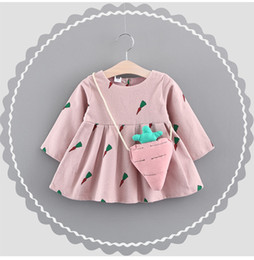 Wholesale Korean Kid Clothes Wholesale - Lovely Baby Girls Carrot Print Dresses 2017 Fall Kids Boutique Clothing Korean 1-4T Little Girls Long Sleeves Cotton Dresses with Bag