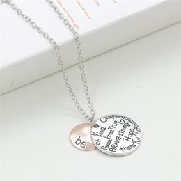 """Wholesale Two Tone Chain Necklace - New fashion Hot sell Two-Tone """"Be"""" Graffiti Friend Brave Happy Strong Thankfull Charm Pendant Necklaces 2763"""
