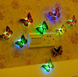 Wholesale Dragonfly Wall - LED Night Light LED Butterfly Dragonfly Lamp Wall Light Colorful Night Lights Halloween Christmas Decorations CCA7458 200pcs