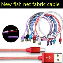 teléfono de red Rebajas Buena calidad 1m 3FT Fish net malla Tela trenzada micro 5pin tipo c cable de datos usb para samsung s6 s7 s8 teléfono android