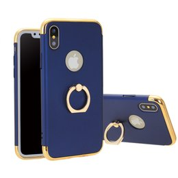 Wholesale Iphone Finger Ring Case - For iPhone X Finger Ring Case Electroplating Cellphone Protective Cover Skin for iPhone 8 8 Plus 7 6 6s