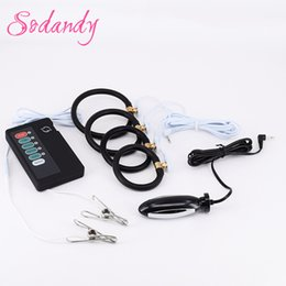 Wholesale Electrical Shock Penis - Estim Anal Plug Male Electro Chastity Devices 4 Silicone Penis Rings Sex Electrical Stimulation Electric Shock Kit Nipple Clamps