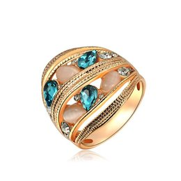 Wholesale 18k Austrian Crystal Ring - Hot Wholesale 18K Gold Plating Gemstone Rings Authentic Rose Gold Opal Austrian Crystals For Woman Luxury Fashion Jewelry Gift Party R005