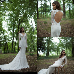 Wholesale Bridal Wedding Collection - Lace Mermaid Wedding Dresses 2016 Berta Long Sleeves Backless Sweep Train Ruffles Bohemian Bridal Gowns New Collection Custom Made