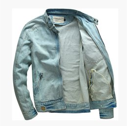 Wholesale Men S Slim Stylish Coat - Wholesale- New Men's Stylish Denim Jacket Coat Casual Mens Plus Size Cotton Stand Collar Jeans Jacket Man Slim Fit Vintage Denim Clothing