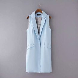 Wholesale Elegant Jacket Blazer - Women Sleeveless Long Vest,4 Colors Office Lady Turn-down Collar Open Stitch Elegant Vests,Summer Autumn Chalecos Blazer Jackets