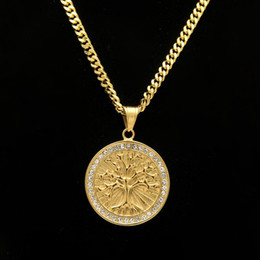 Wholesale Tree Pendant Men Women - New Vintage Celtic Tree of Life Pendant Necklace Gold Plated Stainless Steel For Men Women Christmas Gifts