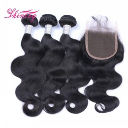 Wholesale Brazilian Virgin Indian - 9A Human Hair Bundles With Lace Closure Best Quality Brazilian Virgin Hair 3 Bundles With Closure And Baby Hair Body Wave With Closure