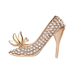 Wholesale High Heels Decorations - 2018 New High-heeled shoes Brooch ,Hot Selling Crystal Rhinestones Boot Shaped Brooch Pin Decoration wholesale ZJ-0903616