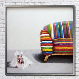 Quadros de pintura a óleo baratos on-line-Free shipping cheap price for wholesale artwork painting cartoon dog pictures no frame by hand painted animal oil painting