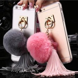 Wholesale Rabbit Fur Iphone Case - For Iphone 7 Case Rabbit Fur Ball Tassels Metal Ring Stand Clear Case For iPhone 6 6s 7 plus Transparent Cover Case TPU