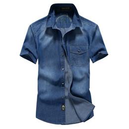 Wholesale Navy Blue Jeans Men - Wholesale-2016 Newest Summer Men's Fashion Denim Shirts Man Short Sleeve Navy Blue Plus Size XXXL 4XL Jeans Shirt