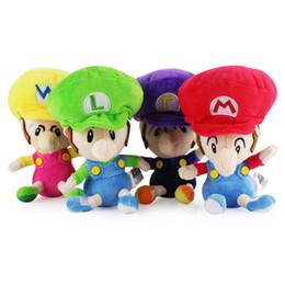 """Wholesale Luigi Party - EMS New 4 Styles 6"""" 15CM Super Mario Bros Stuffed Doll Wario Luigi Waluigi Mario Anime Collectible Plush Dolls Party Gifts Soft Toys"""
