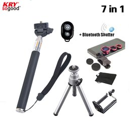Wholesale Prime Fish - Wholesale-7in1 Hotting 3 in 1 Lenses Fish Eye for xiaomi redmi note 3 Selfie Stick Monopod Bluetooth Shutter for sumsung galaxy core prime