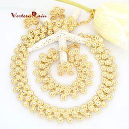 Wholesale Chunky Rhinestone Bracelets - WesternRain Gold Plated Chunky Fashion Transparent rhinestone Jewelry African Costume jewelry set Necklace fashion For women A001X