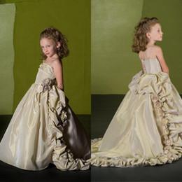Wholesale Toddler Glitz Pageant Wear - Long Train For Little Girls Dress 2016 Formal Glitz Cheap Girl's Flowers Toddler Pageant Gowns For Wedding Kids Wear Flower Girl Dresses