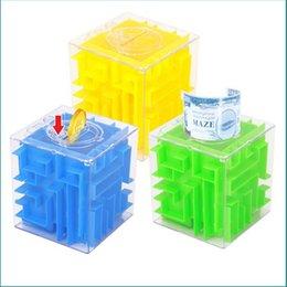 Wholesale Maze Piggy Bank - Wholesale-3D Cube Crystal Puzzle Game Maze Piggy Bank Creative Children Toy Money Saving Box Toys For Children