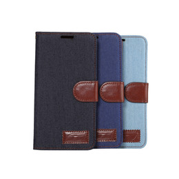 Wholesale Apple Jeans - Jeans Wallet leather case for iphone 7 7G S7 S8 plus Cowboy Flip Cover With Credit Card Slots Holder