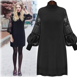 Wholesale Long Sleeve Knee Sweater Dress - 2016 Spring new arrivals Cotton maxi Knitted dress robe dentelle long Dresses for obese women ladies sweater dress XL-5XL