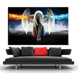 Wholesale Sheet Anime - ZZ1932 HD Canvas Wall Art Angel Wings Painting Beautiful Anime Picture for Home Decor Living Room Bedroom Prints