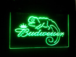 Wholesale Budweiser Led Sign - b-11 Budweiser Frank Lizard Beer Bar LED Neon Light Signs Cheap sign backlighting High Quality sign painting