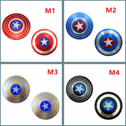 Wholesale Tin Toys Wholesale - Fidget Spinners Captain America Hand Spinner Zinc Alloy spinning top EDC Autism ADHD Finger Gyro Toy Adult Gifts spin 4minute in metal tin