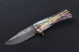 Wholesale Folding Bamboo - bamboo damascus blade titanium handle Hunting Pocket Knife collection knives Xmas gift for men 1pcs freeshipping