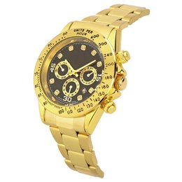 Wholesale Watch Tan Band - top brand luxury stainless steel band men's sports quartz fashion watches Men Dive Quartz watches Imitation three dial luminous watch
