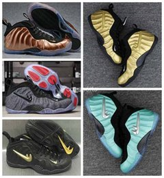 Wholesale Basket Ball Shoes Cheap - 2017 New Air Men penny hardaway Basketball Shoes Cheap Gold Pro in Fleece Mens Sports Sneakers Basket ball Athletic Trainers shoes 8-13