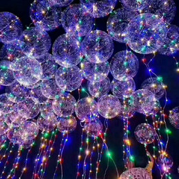 Wholesale Home Lighting Wholesale - New bobo ball wave led line string balloon light with battery for Christmas Halloween Wedding Party home Decoration Heart Star Circular