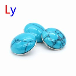 Wholesale European Beads Turquoise - 12pcs lot Noosa 18mm Ginger Snap Buttons Blue Turquoise Round Alloy Clasps Interchangeable DIY Jewelry Accessories AC300