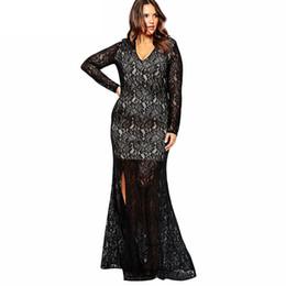 Wholesale Wholesale Elegant Dress Fabric - trims lace fabric women sexy elegant evening dress full dress 2016 vintage Split dresses 3XL-8XL Large size z43