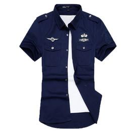 Wholesale Men S Cargo Shirts - Wholesale-newest fashion men short sleeve cotton shirts summer army cargo shirts 3 colors M-6XL DYG50