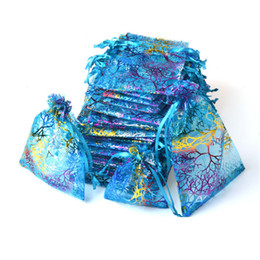 Wholesale Blue Organza Jewelry Bags - Blue Coralline Organza Drawstring Jewelry Packaging Pouches Party Candy Wedding Favor Gift Bags Design Sheer with Gilding Pattern 10x15cm