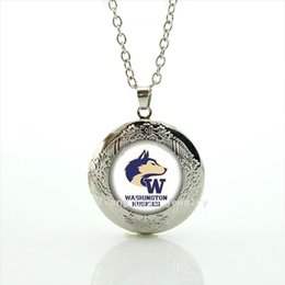 Wholesale People Football - People best loved locket necklace American sport rugby jewelry football Washington Huskies Souvenirs men jewelry gift NF081