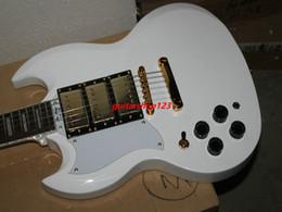 Wholesale Electric Guitar Left Gold - Wholesale Guitars White 3 Pickups left hand Electric Guitar Gold Hardware HOT