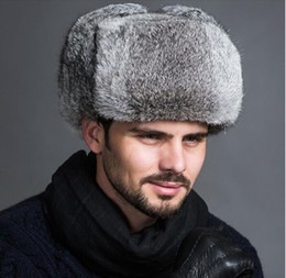 Wholesale Fur Ear Flap Hats - Wholesale-High Quality Mens 100% Real Rabbit Fur Winter Hats Lei Feng hat With Ear Flaps Outdoor Warm Snow Caps Russian Hat Bomber Cap
