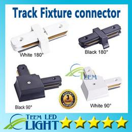 Luz de pista comercial led on-line-Conector do trilho da luz da trilha do diodo emissor de luz para dispositivos elétricos de iluminação comerciais horizontais da trilha do ângulo direito dos fios Acessórios de alumínio