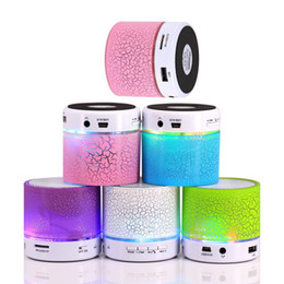 Wholesale Portable Paint - Mini Bluetooth Speaker Cylindrical Crackle Paint LED Light Flash Mini Protable Outdoor TF USB AUX Portable Speakers Car Handfree MP3 Player