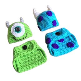 Wholesale Twins Baby Set - Mike and Sulley Monster Outfits,Handmade Knit Crochet Baby Boy Girl Twins Monster Hat Diaper Cover Set,Halloween Costume,Infant Photo Prop