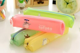 Wholesale Silicone Jelly Box - Wholesale-AB34 Creative Novelty My Neighbor Totoro Jelly Waterproof Silicone Colorful Pen Case Pencil Box Bag Cosmetic Makeup Storage