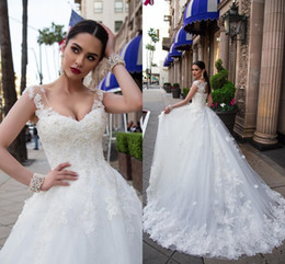 Wholesale Hollow Back Wedding - 2017 Plus Size A Line Wedding Dresses Scoop Neck Cap Sleeves Lace Appliques Flowers Crystal Beaded Hollow Back Sweep Train Bridal Gowns