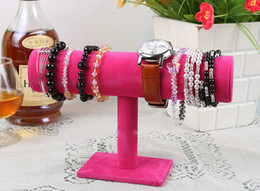 Wholesale Bracelet Holder Jewelry Display Stand - One-Layer Velvet Fashion Jewelry Bracelet Necklace Watch Bracelet Display Stand Holder Bangle Watch T-bar Multi-style Optional