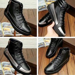 Wholesale High Top Shoes Cheap Prices - Wholesale Price High Quality Patchwork Outdoors Shoe Men Casual New Arrival Real Leather Black High Top Cheap Sneaker Show Shoes With Box