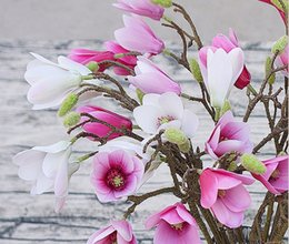 Wholesale Plastic Flowers Orchid - High Quality Hot Sale Fabric Flower Magnolia Orchid long Stem Home and Wedding decorative Table Flower Full Bloom Silk Magnolia Plant