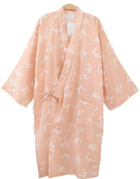 Wholesale Flower Stories - Wholesale- Shanghai Story Women Cotton Three-quarter Sleeves Kimono Bathrobe With Pockets Robe Printed Flower Pajamas 8 Color