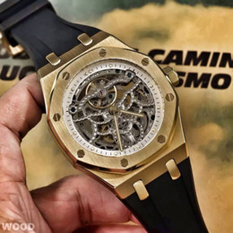 Wholesale Hollow Automatic Gold - AAA top luxury goods gold men's watches new 15407ST hollow automatic mechanical natural rubber strap 43mm waterproof Roman design classic mo